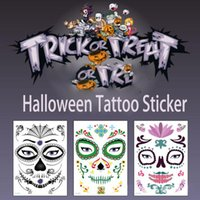Wholesale party props makeup resale online - HugMee Halloween Props Sticker Party Tattoo Sticker Waterproof Khan Atmosphere Funny Makeup Masquerade Face Watermark Sticker P0032