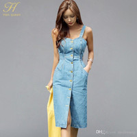 c1ca4875fb Wholesale Sexy Sleeveless Backless Bow Tie Strap Jeans Dress Women Single- Breasted Suspender Denim Sundress Overall Dress