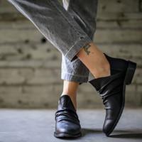 botines negros con cordones al por mayor-# 35 para mujer de las botas del tobillo Negro medio talón ata para arriba señoras de las mujeres botas de cuero de la vendimia tobillo de los zapatos cortos del vaquero de la motocicleta