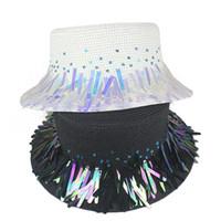 sombrero de papel paja mujer playa al por mayor-2019 Nueva lentejuelas de moda Paillette Band Sun Hat para mujer Summer Straw Hat Holiday Ladies Flat Wide Brim Paper Woven Beach Hat HYcm
