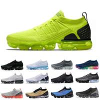 zapatos de punto para hombres al por mayor-Con Box Air Cojín Mxamropavs Nike Air vapormax flyknit 1.0 shoes Zapatos para correr Colorido Blanco Negro Gris Azul Rojo Arco iris Jogging Caminar Deportes  aire libre Zapatillas