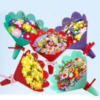 botones musicales al por mayor-Nueva moda DIY botón ramo hecho a mano niños artesanía flor decoración del hogar regalo del día de la madre Nueva moda niños hecho a mano botón DIY ramo