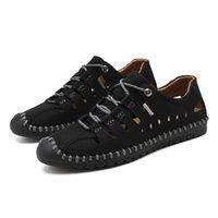 hakiki sandal erkekler toptan satış-Hakiki deri erkek ayakkabıları deri ayakkabı oymak için adam yaz moccasin sandalet erkek ayakkabı kahverengi haki artı boyutu