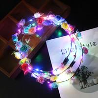 tierbesatzungen verkauf großhandel-Party leuchtenden Kranz Halloween Crown Blume Stirnband helle Mädchen Farbe zufällige LED leuchten Multicolor Haar Kranz Haarband Spielzeug