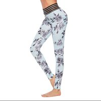 Wholesale high waist printed yoga pants online - Female Yoga Pants Motion Leggings Running Printing Slimming Trousers Tight Fitting Britches High Elasticity Comfort Dark Blue lv C1
