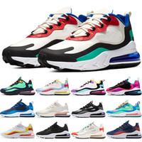kadın golf ayakkabıları toptan satış-Nike Air Max 270 React Ucuz ARTı Mens Kadınlar Koşu Ayakkabı BE BEYAZ Sarı Üçlü Siyah Beyaz Oreo Menekşe Erkekler Tasarımcı Eğitmen Spor Sneaker Boyutu 36-45