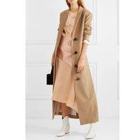 zarif palto avrupa toptan satış-Kadınlar Palto Kış Yün X-Uzun Coat 2019 Vintage Şık Avrupa Deve Dış Giyim Office Lady Casual Bel Palto ayarlayın