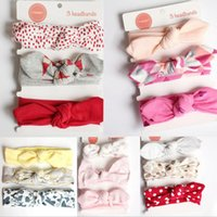 baby mädchen kaninchen haarband großhandel-3pcs scherzt Blumenstirnbandbaby elastische Bowknot-Zusatz-Haarband-gesetzte Kindkaninchenohr-Baumwollkopfbedeckung