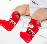 ingrosso calzini di lana rossa-Baby Big Red Socks Bambini Cotton Neonatal Red Socks Anelli di lana Calzini addensati da pavimento Natale sfuso