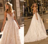 klasik desen elbise toptan satış-Yeni Tasarım 2020 Berta Gelinlik Dantel Aplike A Hattı Spagetti Sapanlar Backless Gelinlik Custom Made