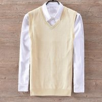 New brand Italy style sleeveless cotton sweater men v neck solid beige sweaters male slim leisure fashion vest mens chandail