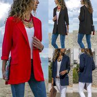 ingrosso il nero si adatta alle signore-Slim Blazers Women Autumn Suit Jacket Donna Work Office Lady Suit Nero Nessuno Button Business dentellato Blazer Coat Fashion