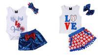ingrosso i vestiti del bambino regolano 3pc-Baby Baseball Set di Abbigliamento Bambini Senza maniche AMORE Lettera Stampa Shorts Camicia Pagliaccetto pantaloni per Independence Day 3 pz / set Abbigliamento per bambini Set