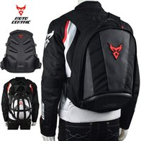 rucksäcke für motorräder großhandel-Wasserdichte Motorrad Leder Rucksack Reit Laptop Helm Umhängetasche Package (rot)