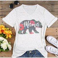 3cc94473cde37f 2018 plus größe t-shirt frauen v-ausschnitt kurzarm sommer floral mama bear  casual weibliches t damen tops weiße t-shirts