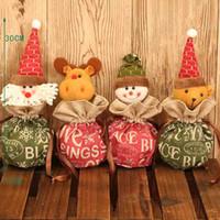 chocolates orgânicos venda por atacado-Natal da Apple Chocolates doces 1pc Cotton Papai Noel Cartões Bolsas Organic lona com cordão Bag 4 Pattern