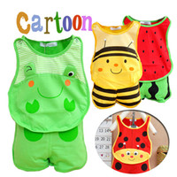 Wholesale 6 12 months clothes resale online - Cute Baby Clothing Cartoon Frog Watermelon Beetle Set Top Short Baby Summer Clothing For Months Baby
