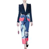 женская короткая куртка печати оптовых-New Plus Size 2 Piece Women Floral Print V Neck Short Work Business Blazer Jacket + Pencil Pant Suit Office Lady Suit