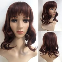 Wholesale sexy human hair wigs for sale - Group buy Short Wine Red Wavy Fluffy Full Wig Simulation Fashion Sexy Brazilian Like Human Hair Wigs For Black Women None Lace Hair Y Demand