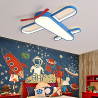 ingrosso camera da letto lampadario blu-New Modern LED Lampadari per bambini Lampadari per ragazze Camera Boy Bedroom Blue Airplane Light Shade Lampadario Lampadario Lustri Apparecchio