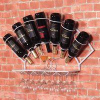 eisen mail großhandel-Freies Verschiffen Eisenweinregal hängende Wanddekoration Weintraubenregal Regal Display Becher Tasche Mail