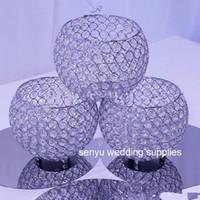 Wholesale glasses for centerpiece resale online - 15cm cm diameter decorative flowers wedding glass crystal floral stand for table centerpiece senyu0065
