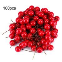 suni kalemler toptan satış-100 Adet Yapay Kırmızı Holly Berry Noel Ercik DIY Ev Bahçe Süslemeleri Noel DIY Dekorasyon Malzemeleri