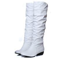 kadınlar için kahverengi düz çizmeler toptan satış-2018 Yeni Gelmesi Diz Yüksek Kadın Çizmeler Siyah Beyaz Kahverengi Düz Topuklu Yarım Çizmeler Bahar Sonbahar Ayakkabı Kadın H-291
