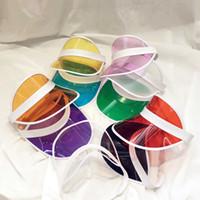 sombrero de plástico transparente al por mayor-Moda Transparente Sombrero Visera Creativa de Plástico Transparente Tapa Superior Vacía de Viaje al Aire Libre Playa Protector Solar Sombrero de Sol TTA952