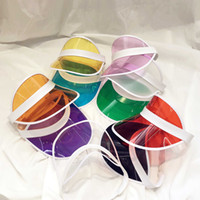 прозрачная пластиковая шапка оптовых-Мода Прозрачный Шляпа Солнцезащитного Козырька Творческий Прозрачный Пластиковый Пустой Верхней Крышкой Открытый Путешествия Пляж Солнцезащитный Крем Шляпа Солнца TTA952