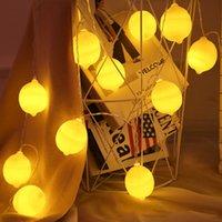 fenerler için ışıklı teller toptan satış-BRELONG LED limon ışık dize tatil dekorasyon küçük fener ağı kırmızı ins dize ışıklar mağaza düzeni yanıp sönen ışık pil kutusu