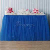 Wholesale baby blue wedding table for sale - Group buy Royal Blue Tulle Tutu Table Skirt Tulle Tutu Skirt cm x cm for Party Baby Shower Wedding Favors Decoration T190929