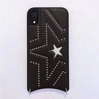 kordon parçaları toptan satış-iphone XS MAX X 6s için tek Piece PU Telefon Kılıfı geri 7 8P moda yıldızı Tasarımcı telefonu kılıfı 6plus Lanyard ile kapatın