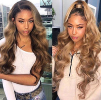 Wholesale human dark hair wigs resale online - Brazilian human full lace hair wigs bt honey blonde bleached knots lace front human hair wigs with baby hair no shedding