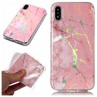 ich telefoniere transparent großhandel-Glänzender Laser-TPU-Fall für i Phone Xs Max iPhone Xr X SE 6 7 8 Samsung S8 S9 Plus Marmor-Gummiabdeckung