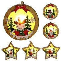 diy lamp stars toptan satış-LED'ler Işık DIY Ahşap Chalet Noel Ahşap Yıldız Yuvarlak Çerçeve Lambası Parlak Noel ağacı Süsleme kolye Süsler Asma
