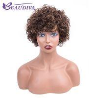 ingrosso parrucche di alta qualità per le donne nere-Alta qualità a buon mercato Ombre parrucche 1B / 4 # / 30 # breve Bob ricci ondulati non pizzo anteriore parrucche di vendita di calore parrucche per le donne nere