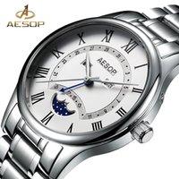 Wholesale watch moon phases for sale - Group buy Aesop Watch Men Luxury Moon Phase Quartz Wrist Wristwatch Stainless Steel Male Clock Men Waterproof Relogio Masculino