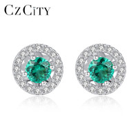 6c7ebb698 CZCITY Fashion Round Shape 925 Sterling Silver Stud Earrings for Women  Sparkling 3 Color Gemstone Post Earring Fine Jewelry