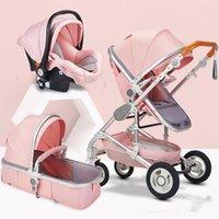 ingrosso sedile auto rosa-Bambino paesaggio di alta Passeggino 3 in 1 Hot Mamma Rosa di Lusso passeggino sede Viaggi Pram Carriage carrello Baby Car e Trolley