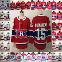 jeans rojos para mujeres al por mayor-Montreal Canadiens 4 Jean Beliveau 9 Maurice Richard 15 Jesperi Kotkaniemi Rojo Blanco 100º Jugador Jubilado Clásico Hombres Niños Mujeres Juventud Jersey