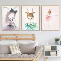 ingrosso verniciature-Swan Princess Poster Canvas oil Painting Coniglio unicorno Prints appeso Wall Art Pictures paintings Nursery Baby Camera dei bambini Decorazione da sogno