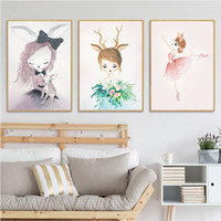 Wholesale arts swans online - Swan Princess Posters Canvas Painting Rabbit unicorn Prints hanging Wall Art Pictures paintings Nursery Baby Kids Room dreamy Decoration