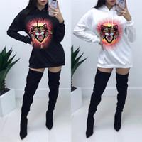 uzun kedi toptan satış-Kadınlar Uzun Kollu sweatshirt Marka Kadınlar Giyim Kedi Desen Baskılı Mürettebat Boyun Kapşonlu Kazak Tasarımcı Kadınlar Kedi Kapüşonlular Casual Jumper