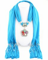 Wholesale turquoise pendant jewelry resale online - Colored Turquoise Flower Pendant Scarves for Women Fashion Long jewelry necklace Scarf Acrylic Warm Scarf Femal Decorative Accessories