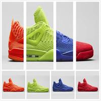 zapatos de baloncesto verde fluorescente al por mayor-2019 Nuevos zapatos de baloncesto 4 4s Fluorescente Verde Rojo Azul Naranja Respirable Mosca Zapato deportivo Diseñador de punto Zapatillas cómodas con caja