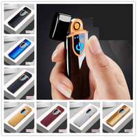 Wholesale electronic fingerprint lighter for sale - Group buy Double Face Fingerprint Touch Sensor Cigarette Lighter Rechargeable Metal Pulse USB LCD Flameless Smoking Lighters With Gift Box Colors