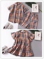 bebek kızı sonbahar elbisesi toptan satış-Burberry 2019 Bebek Kız erkek Çocuk spor Giysileri BBR suits tops Pantolon 2 adet Sweatsuit bebek Kız elbise Güz OutfitsTracksuit suit