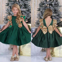 Wholesale white princess ball gown dresses for sale - Group buy 2020 New Dark Green Princess Flower Girls Dresses Jewel Neck With Gold Sequins Open Back With Big Bow Birthday Communion Girls Pageant Gowns