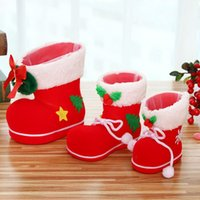 Wholesale candy boxes supplies resale online - Christmas Stockings Candy Boots Gift Box Xmas Santa Claus Flocking Boots Decorative Candy Home Decoration Supplies New